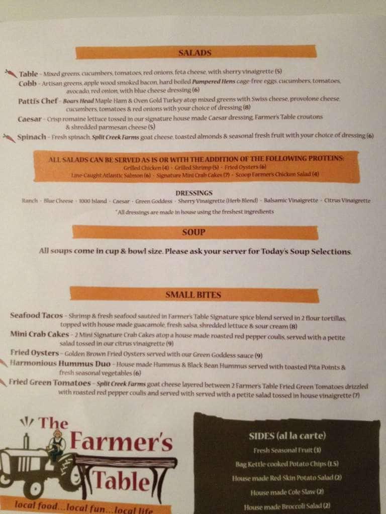 The Farmers Table Menu Menu For The Farmers Table Spartanburg - Farmers table menu