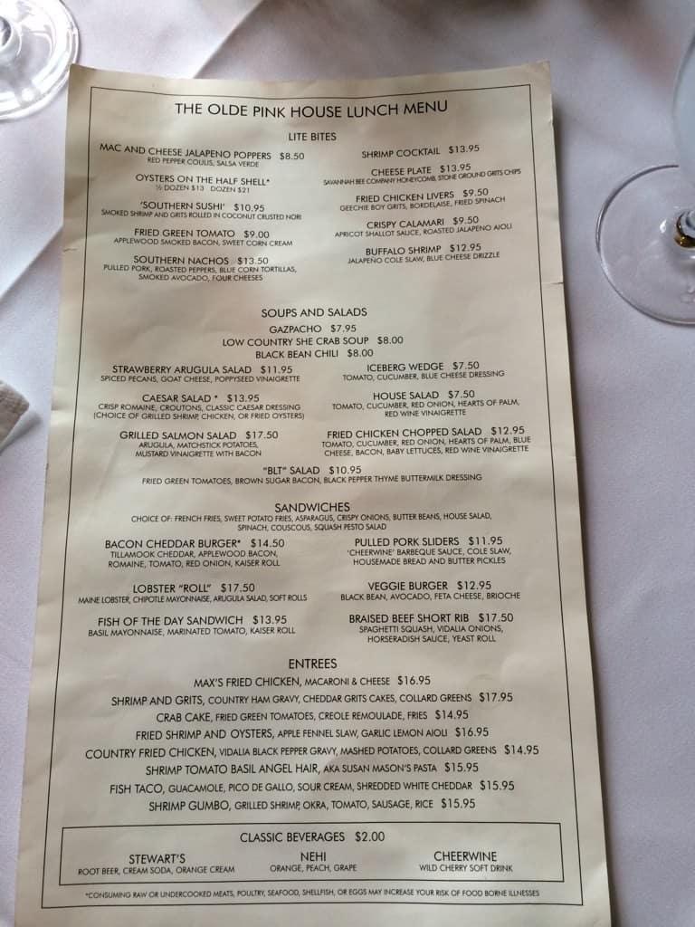Pink House Restaurant In Savannah Ga Menu