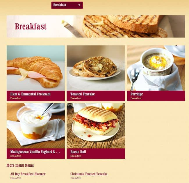 Costa Coffee Food Menu Prices