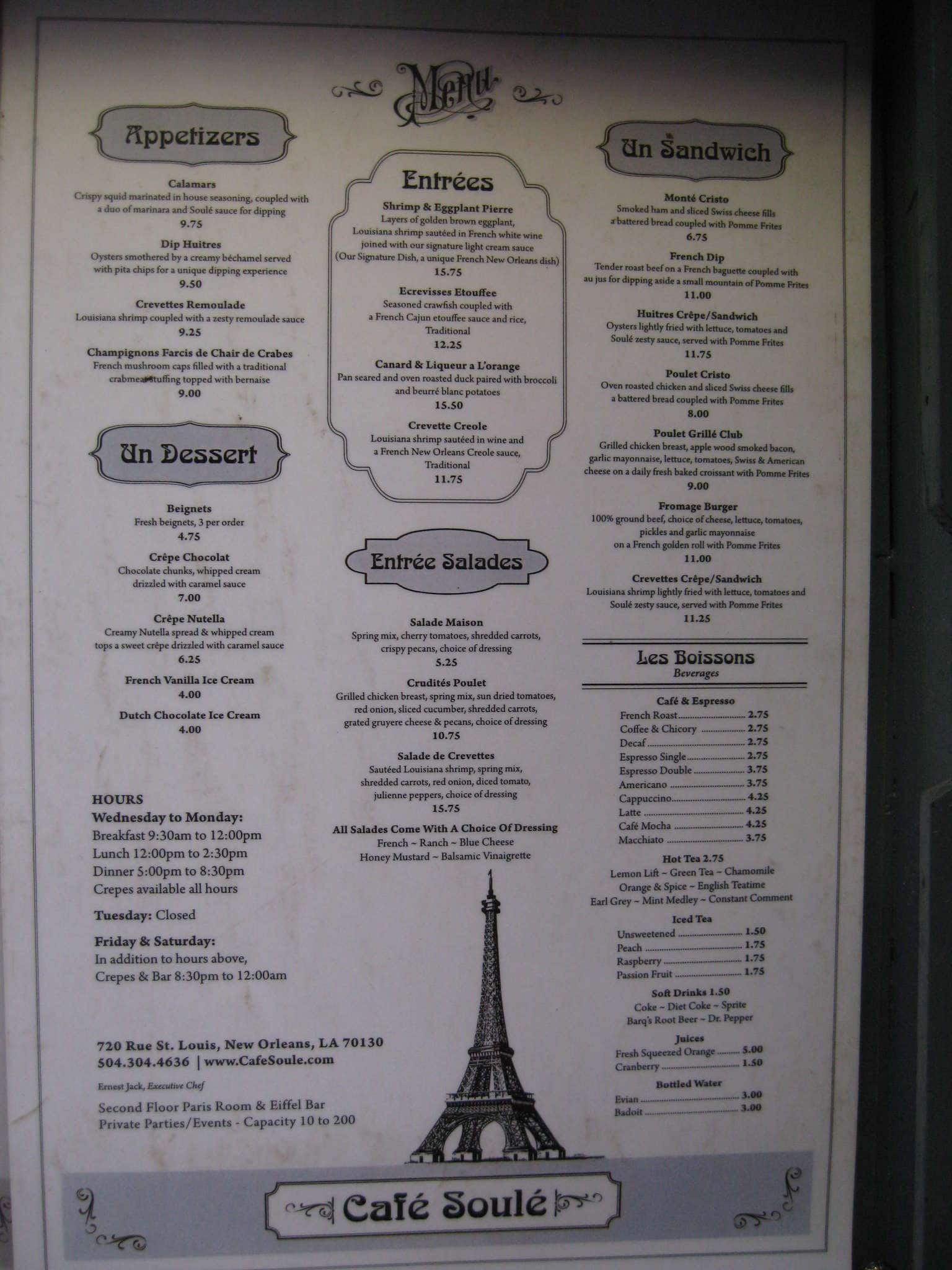 Cafe De Paris Drinks Menu