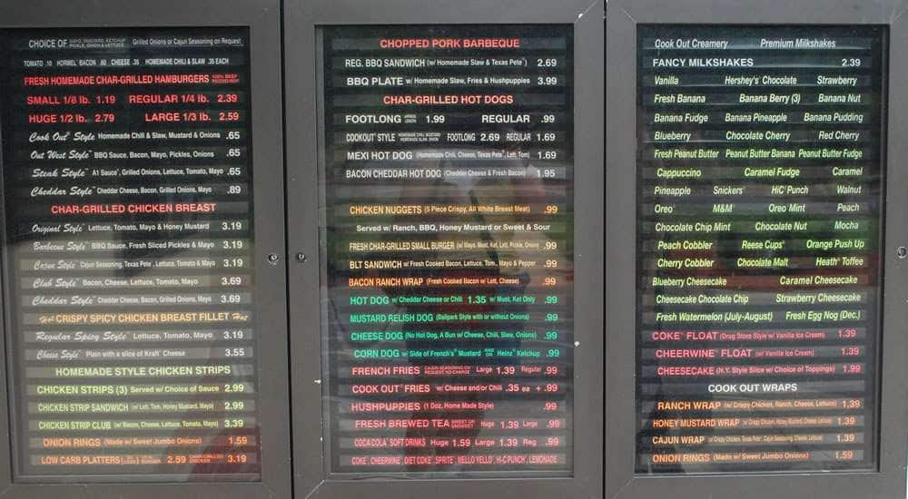 Menu At Cook Out Restaurant Wilmington 715 S College Rd