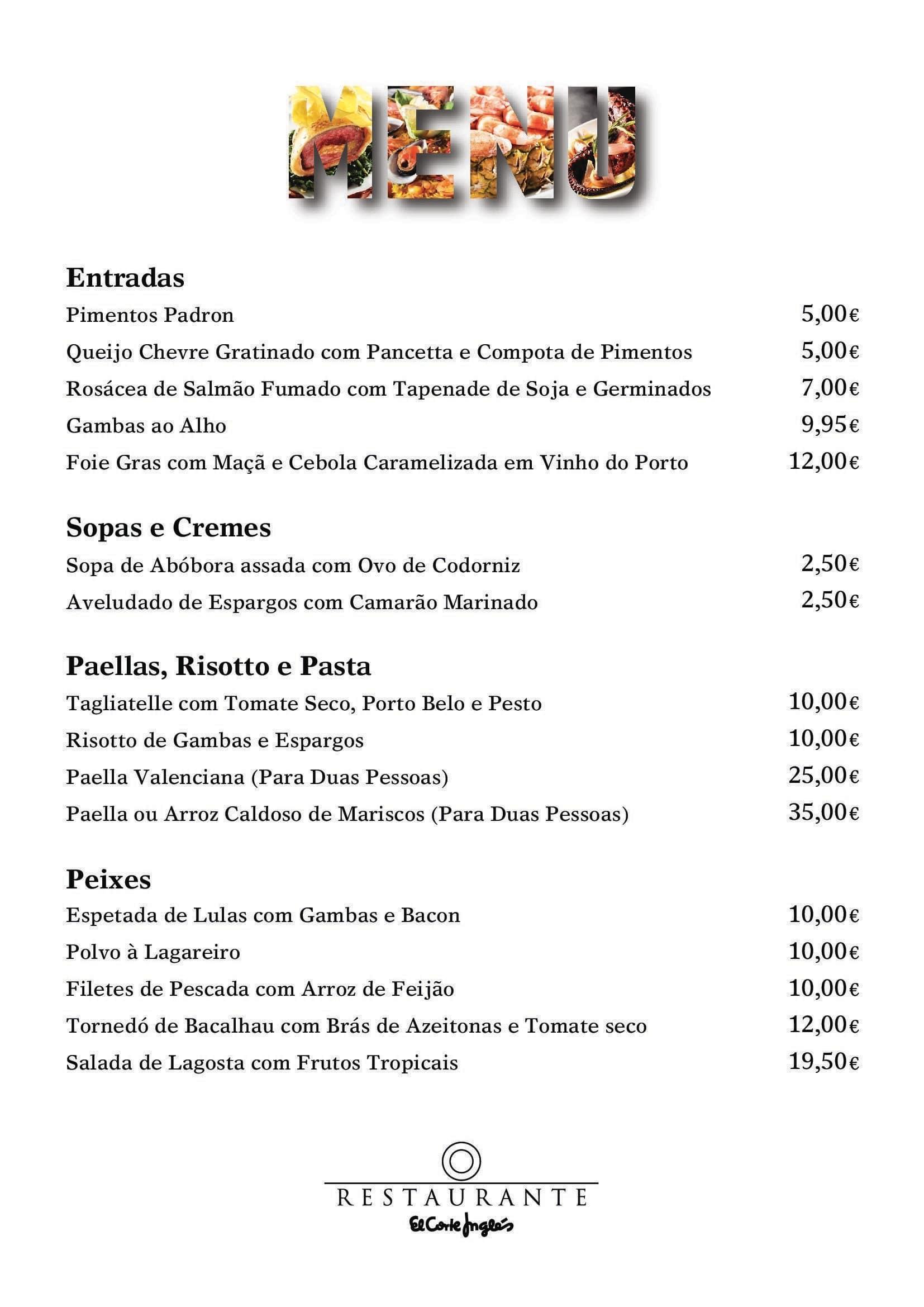 Restaurante el corte ingl s menu zomato portugal - Entradas elcorte ingles ...