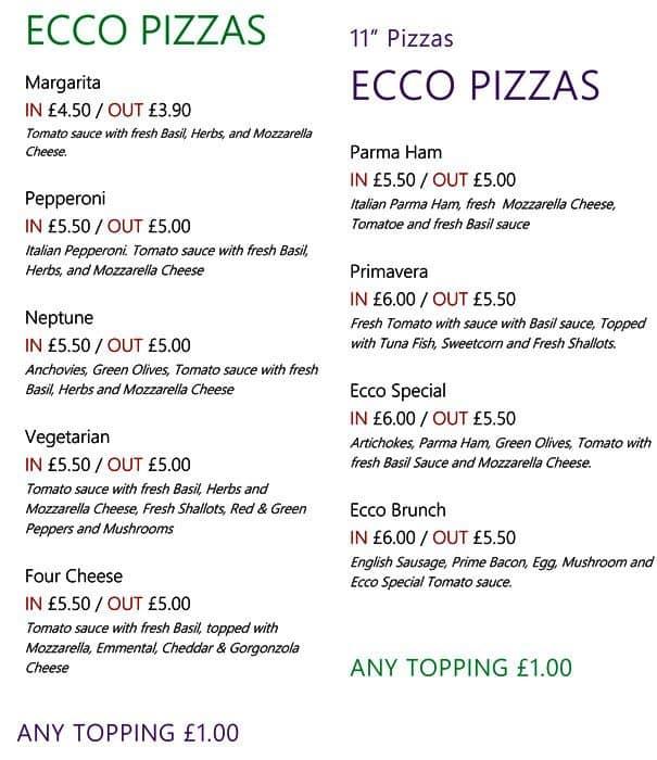 Ecco Pizza Menu Menu For Ecco Pizza Covent Garden London