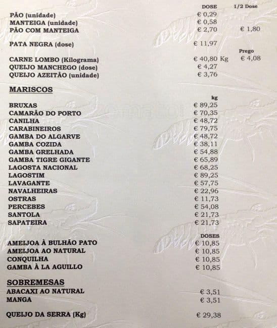 Cafe Prego Menu