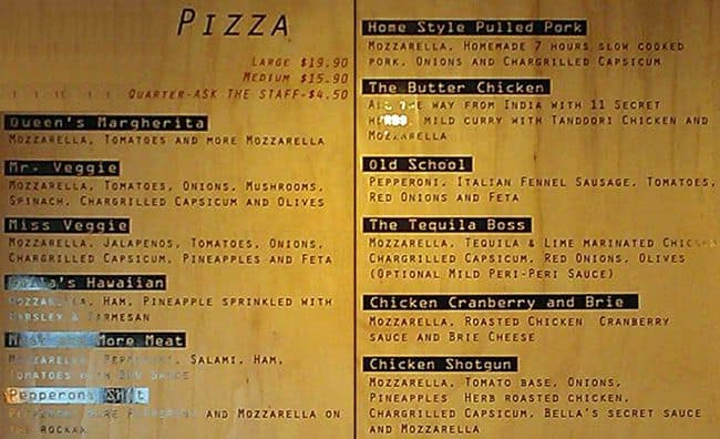 Pizza Bella Hollywood Menu