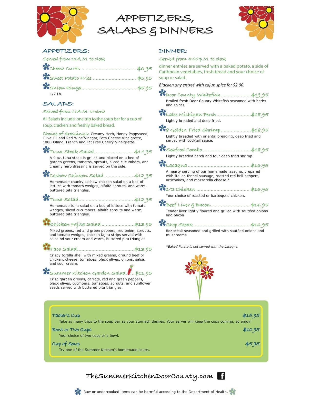 Menu at Summer Kitchen, 10425 N Water St - Restaurant prices