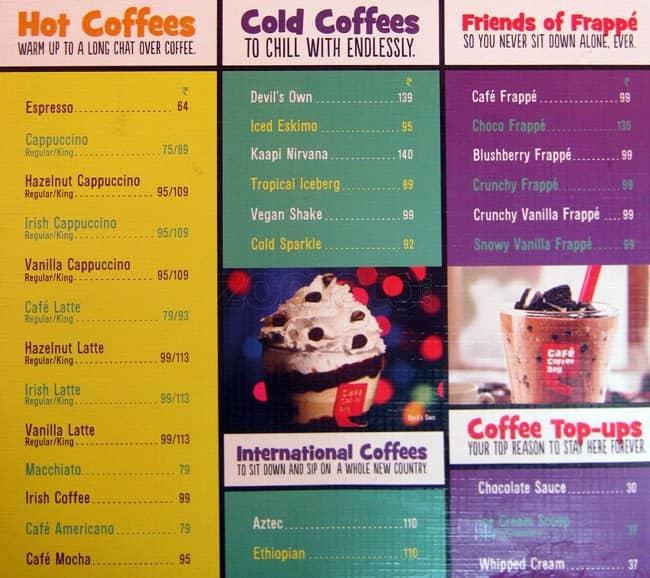Coffee Day Menu With Prices Cafe Coffee Day kr Puram Menu