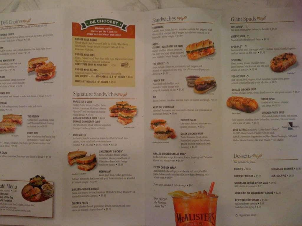 This is a photo of Simplicity Mcalisters Deli Printable Menu