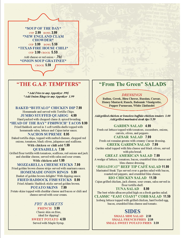 Great American Pub Menu Menu For Great American Pub Raynham New