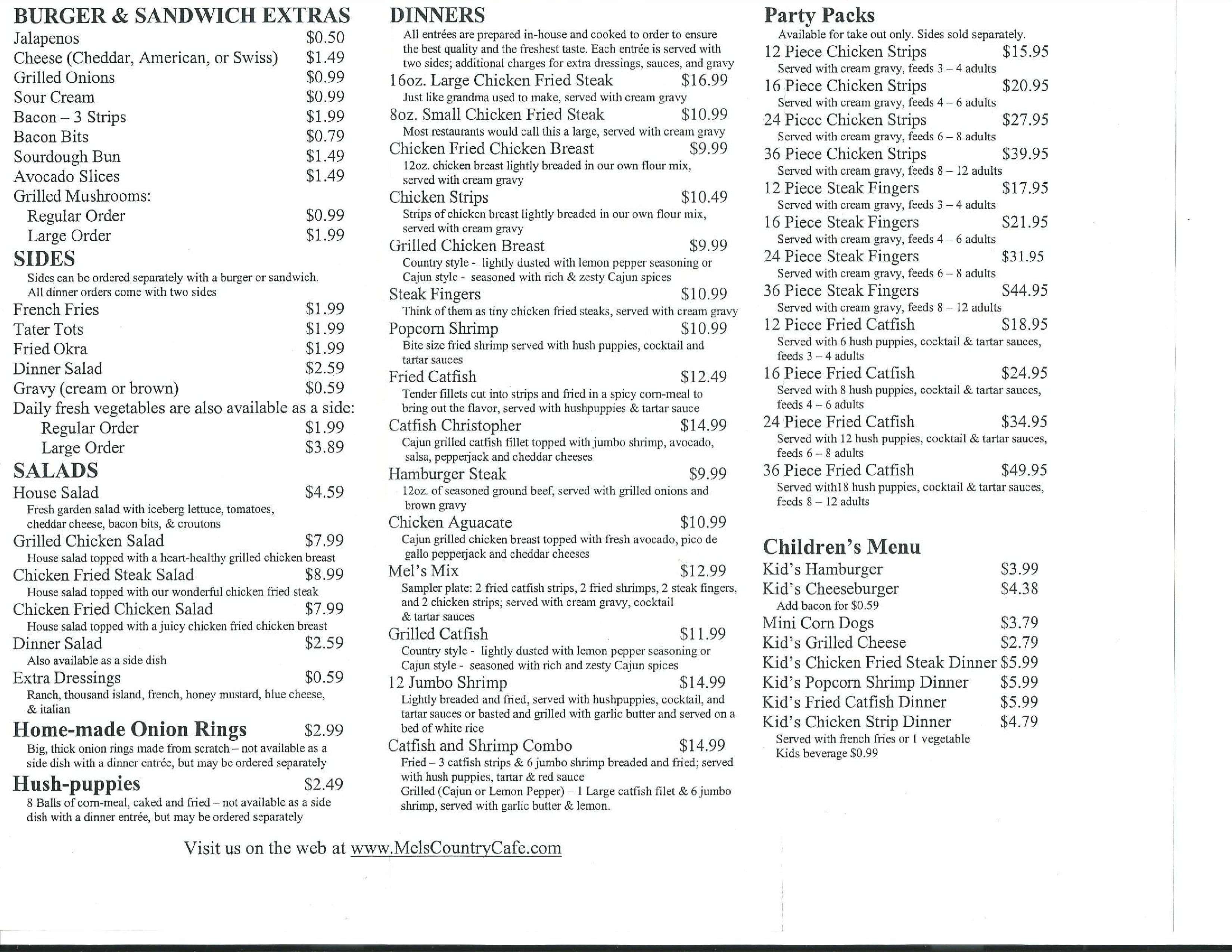 Mel\'s Country Cafe Menu, Menu for Mel\'s Country Cafe, Tomball ...