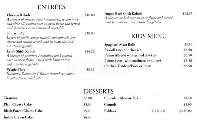 Italian Garden Cafe Menu Menu For Italian Garden Cafe Canyon