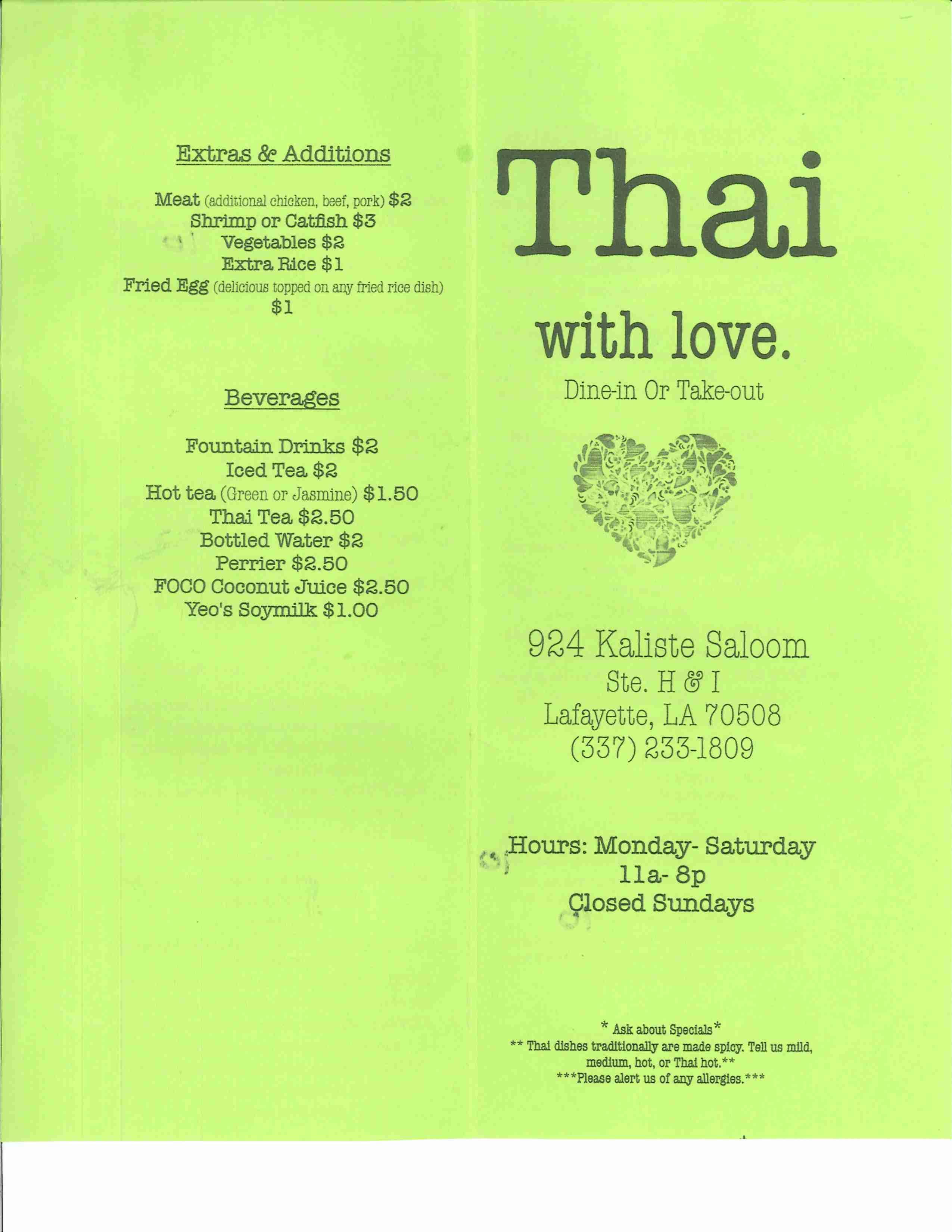 1809 Menu thai with love menu, menu for thai with love, lafayette