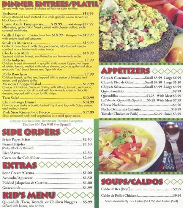 la cabanita menu, menu for la cabanita, burr ridge, chicago ... - La Cabanita