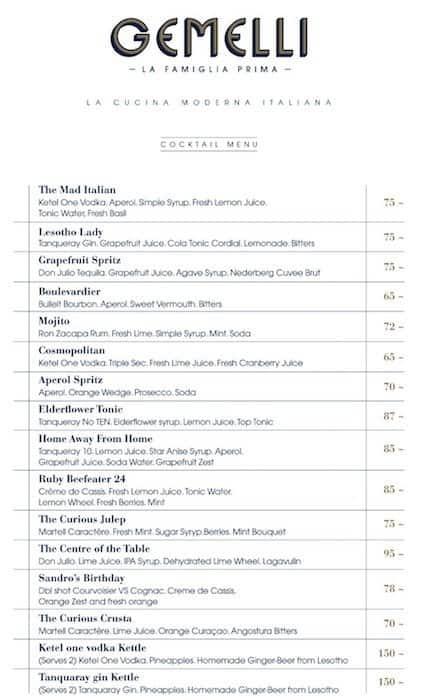 Gemelli Cucina Bar Menu Menu Podniku Gemelli Cucina Bar