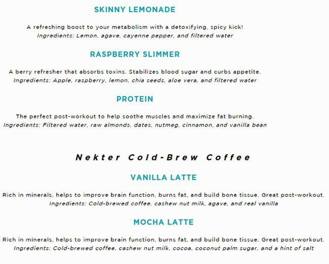 Menu at Nekter Juice Bar, Southlake