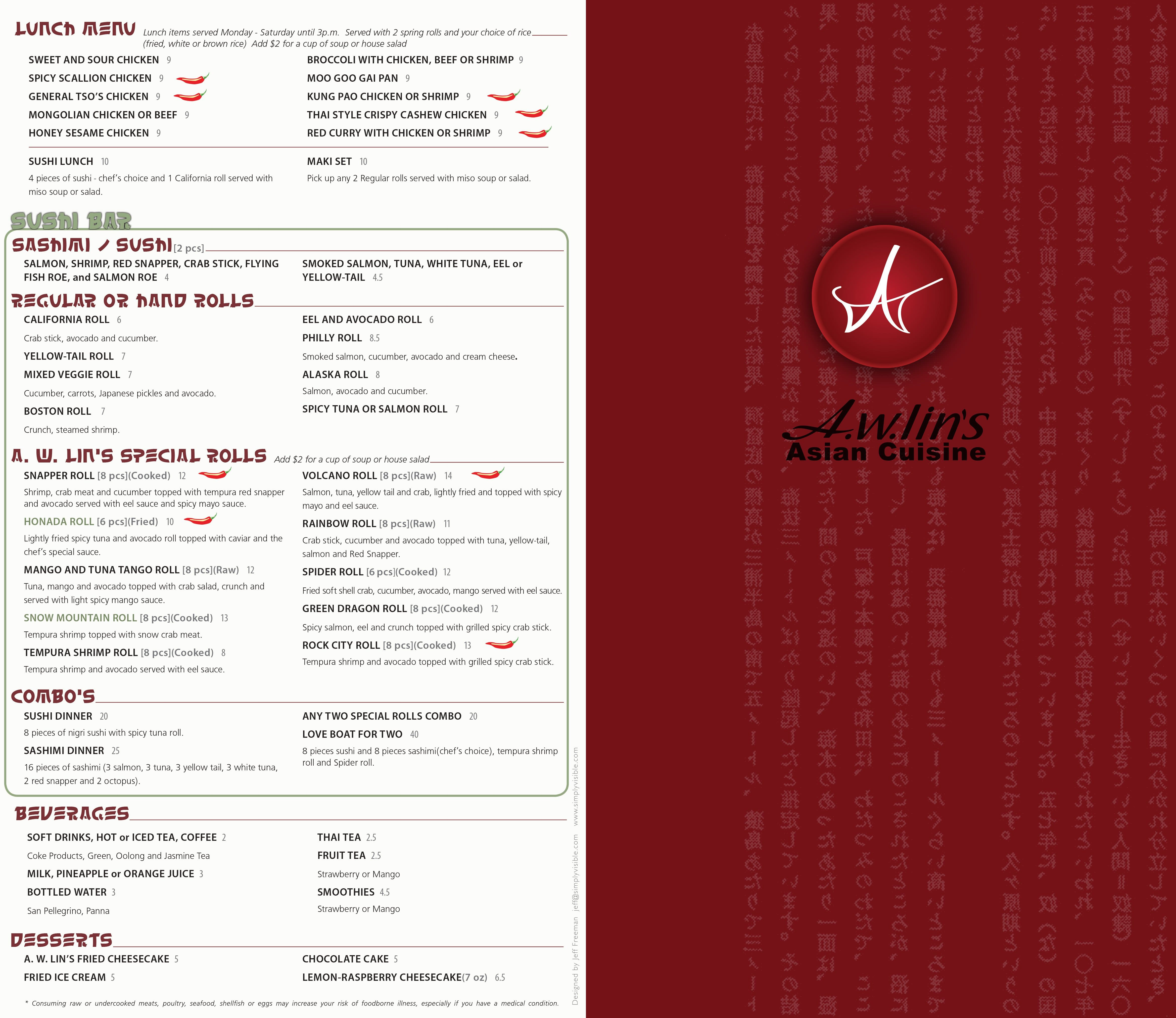 A w lin 39 s asian cuisine menu urbanspoon zomato for Asia asian cuisine menu