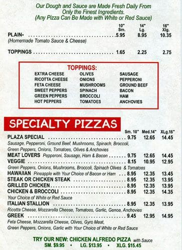 Scanned Menu For Plaza Pizza