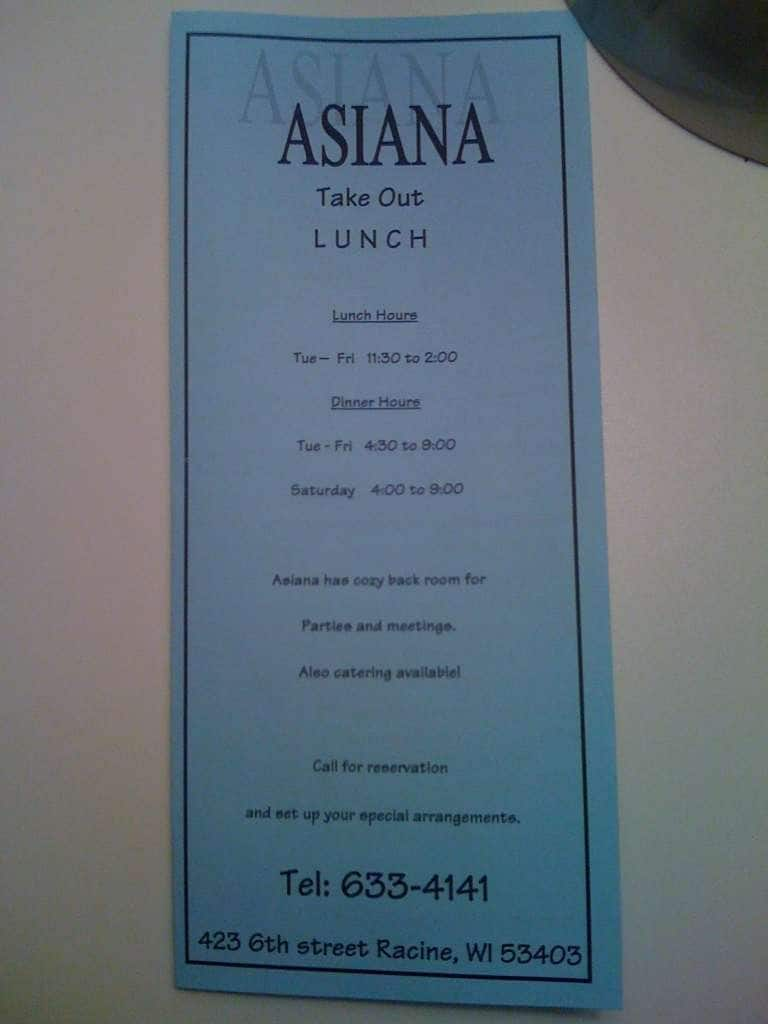 Asiana asian cuisine menu menu for asiana asian cuisine for Asiana korean cuisine restaurant racine