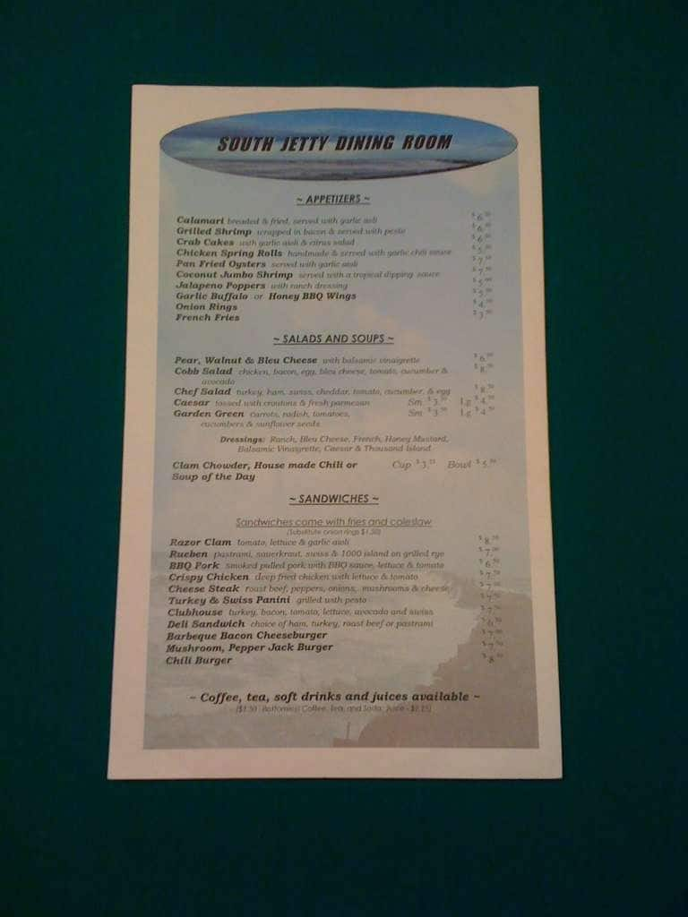 South Jetty Dining Room Bar Menu