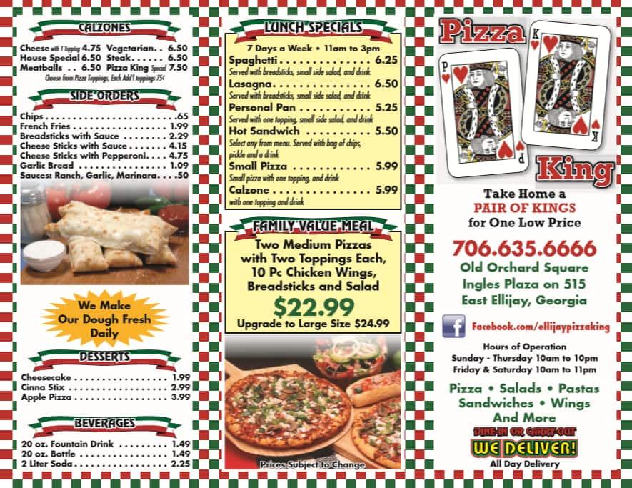 Pizza King Menu Pizzapanties