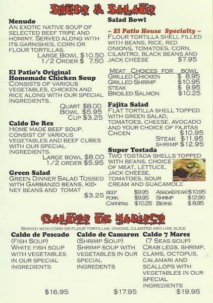 Menu at El Patio restaurant Fremont Fremont Blvd