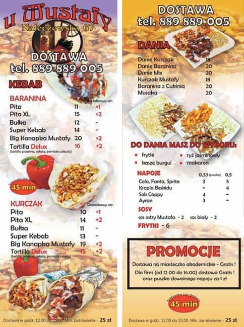 Kebab U Mustafy Menu Menu Restauracji Kebab U Mustafy