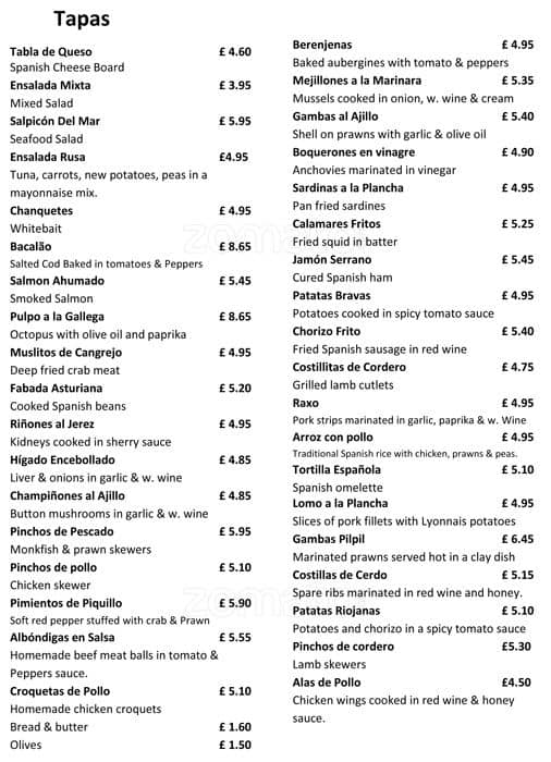 Menu At La Terraza Restaurant Walton On Thames 40 Hersham Rd