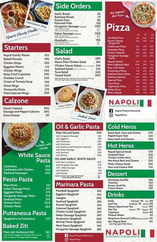 Napoli Pizzeria Ristorante Menu
