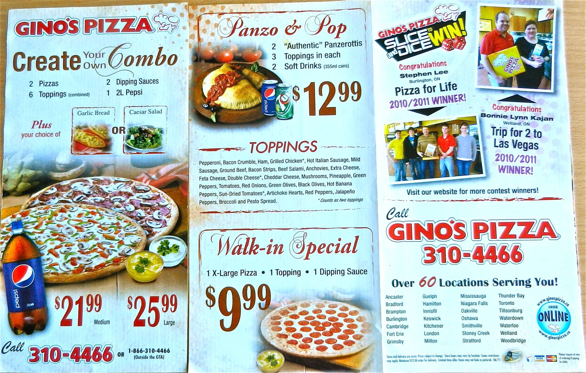 gino's pizza menu, menu for gino's pizza, hamilton, hamilton