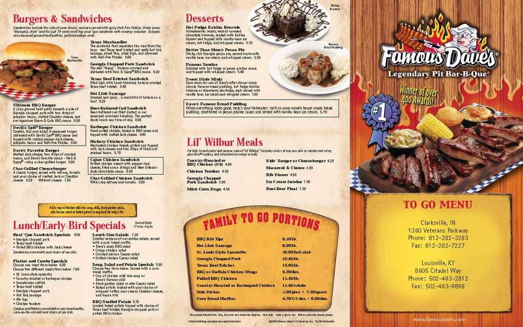 Famous Daves Menu Menu For Famous Daves Clarksville Louisville