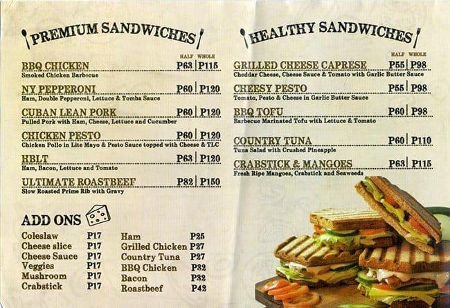 The Sandwich Guy Menu Menu For The Sandwich Guy