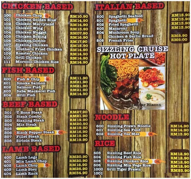Mr Steakhouse Yen 13 Shah Alam Menu