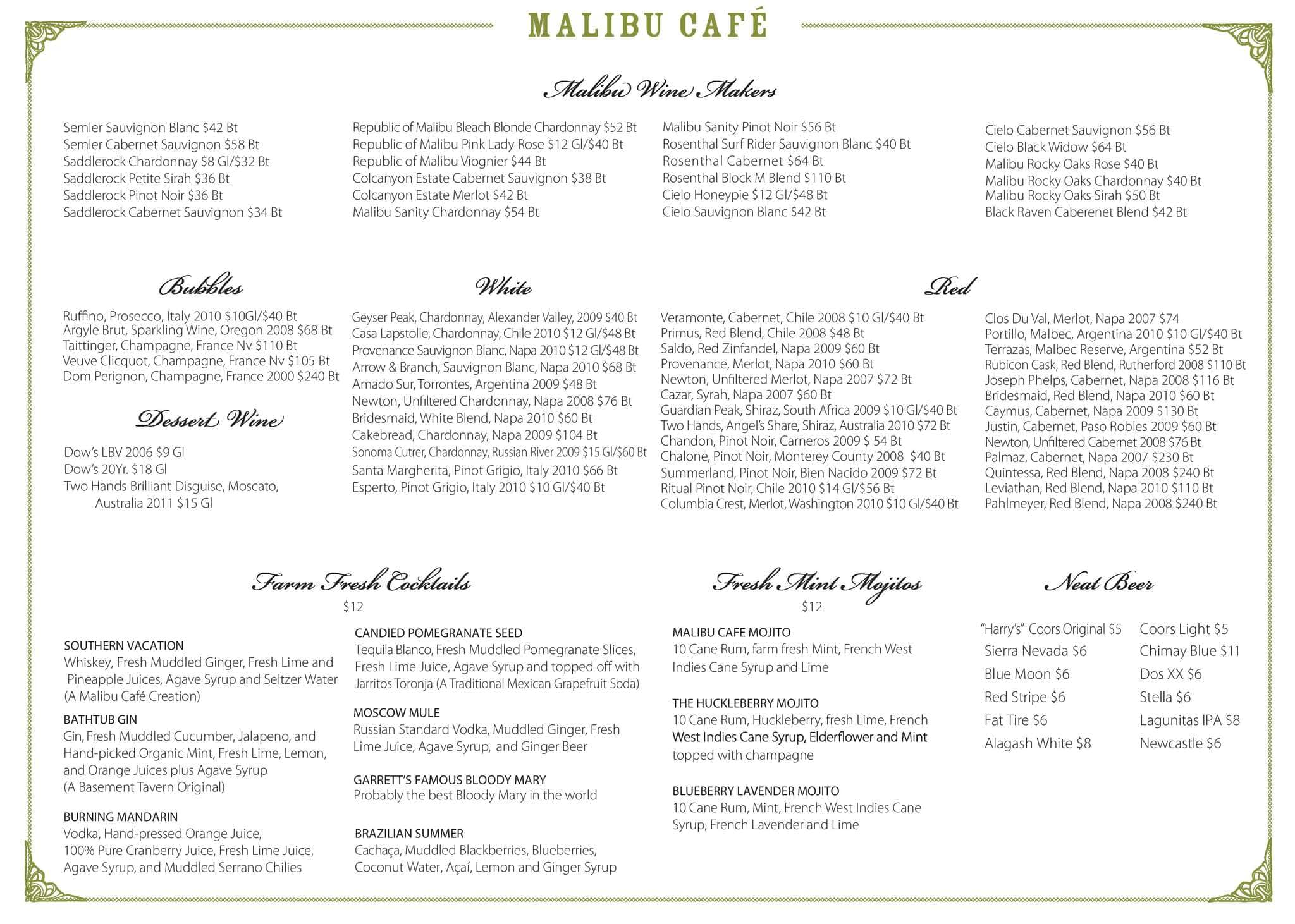 The Malibu Cafe Calamigos Ranch Menu Urbanspoon Zomato