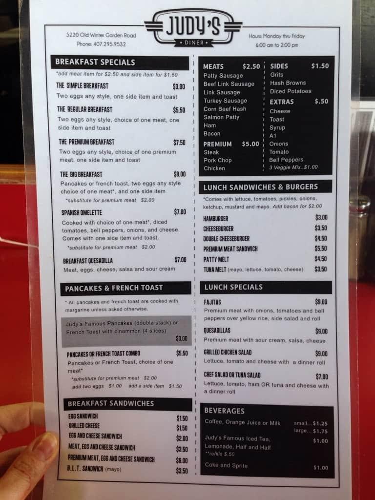 menu at judy u0027s diner 5220 old winter garden rd restaurant prices