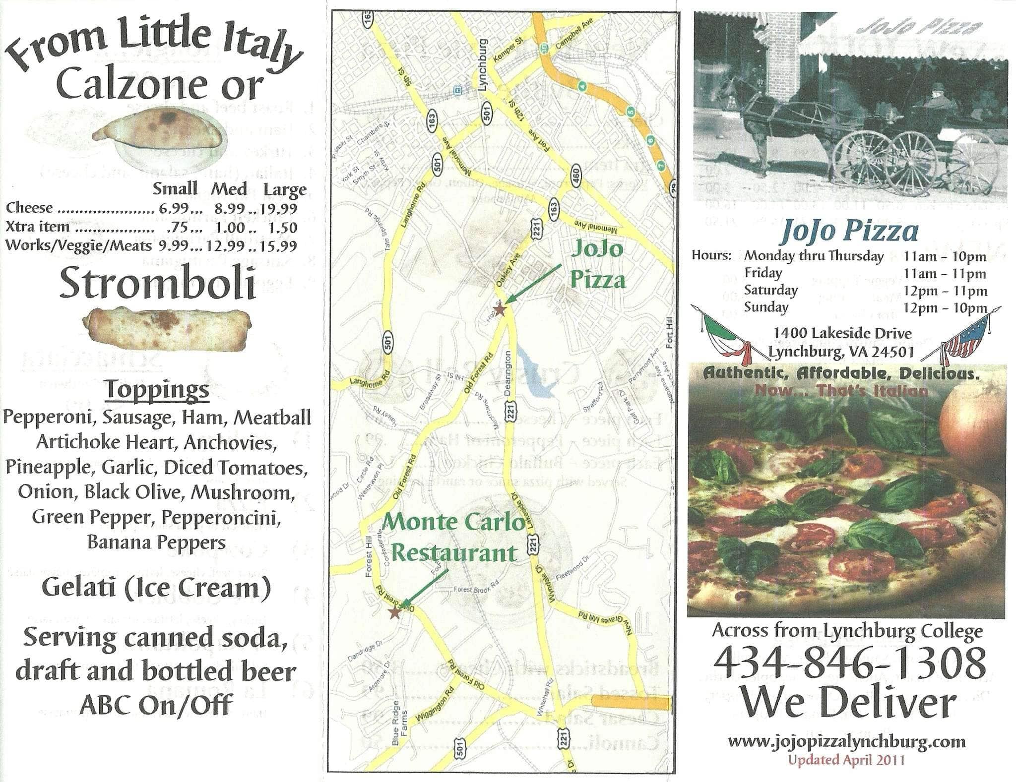 Jojo Pizza Menu, Menu for Jojo Pizza, Lynchburg, Lynchburg ...