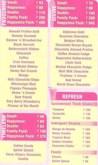 Baskin Robbins Ice Cream Cake Prices India