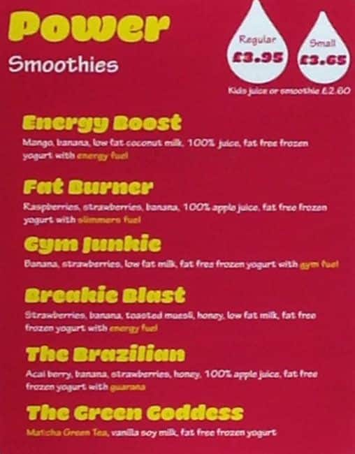 Fuel Juice Bar Menu, Menu for Fuel Juice Bar, City Centre, Glasgow ...