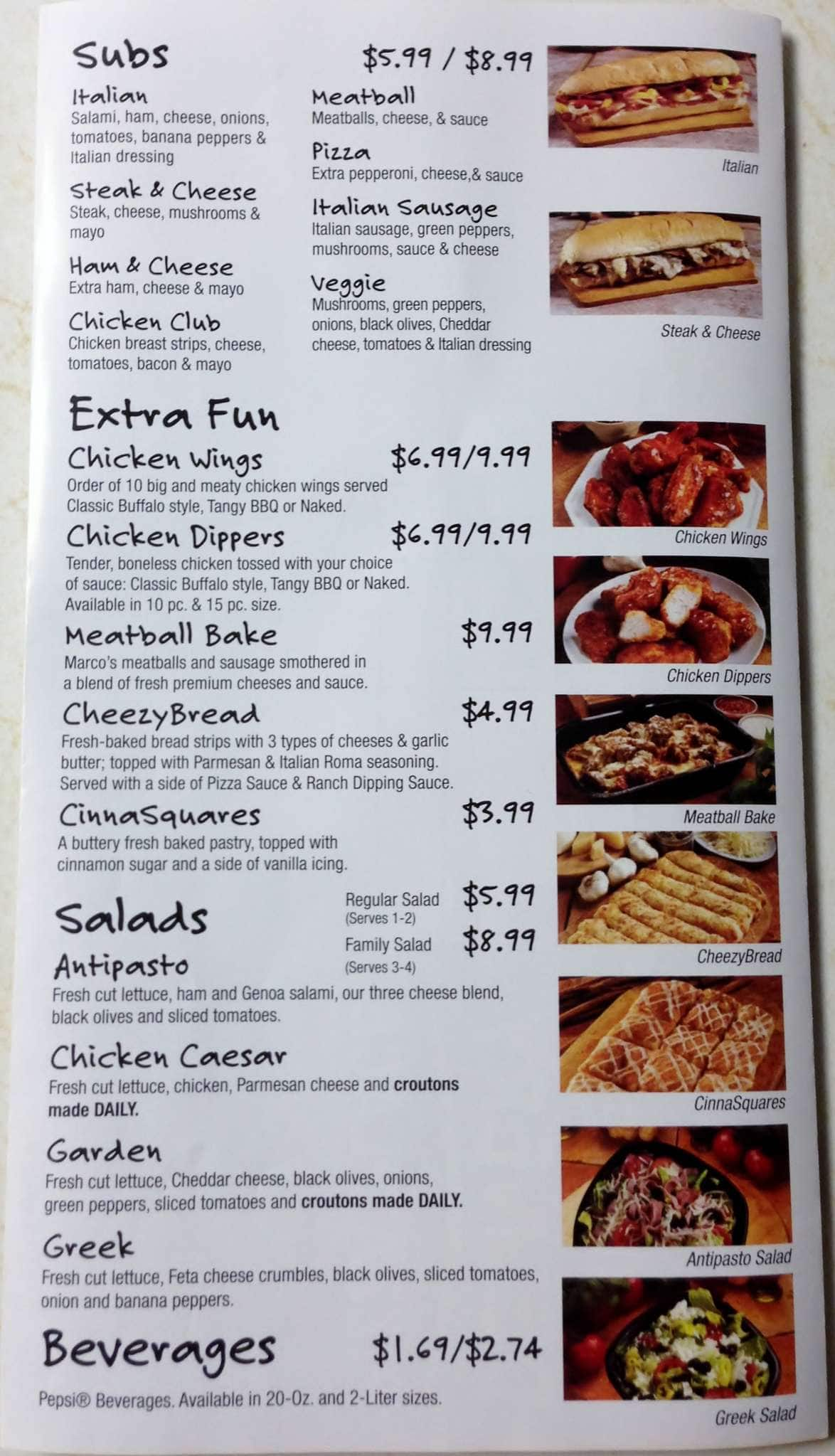 menu at marco's pizza restaurant, fishers, e 116th st