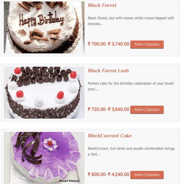 HappieReturns Online Cake Delivery Menu