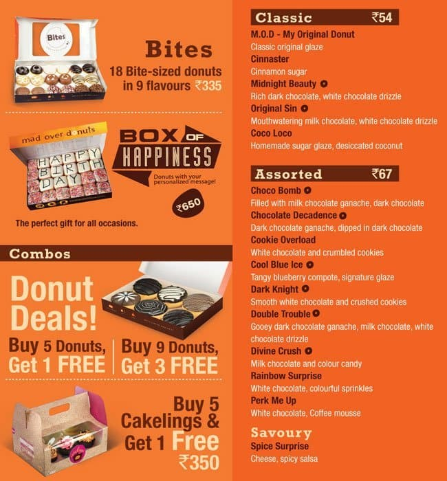 Mad Over Donuts Menu Menu For Mad Over Donuts Sector 18