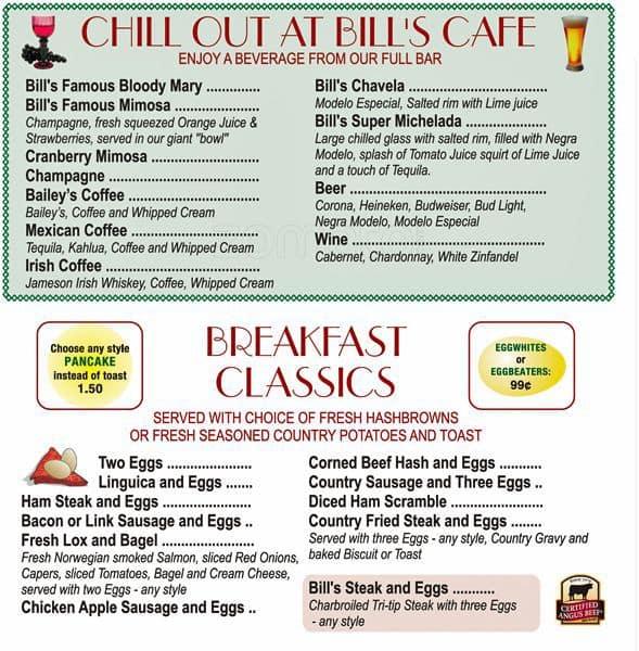 Bills Cafe Willow Glen Menu