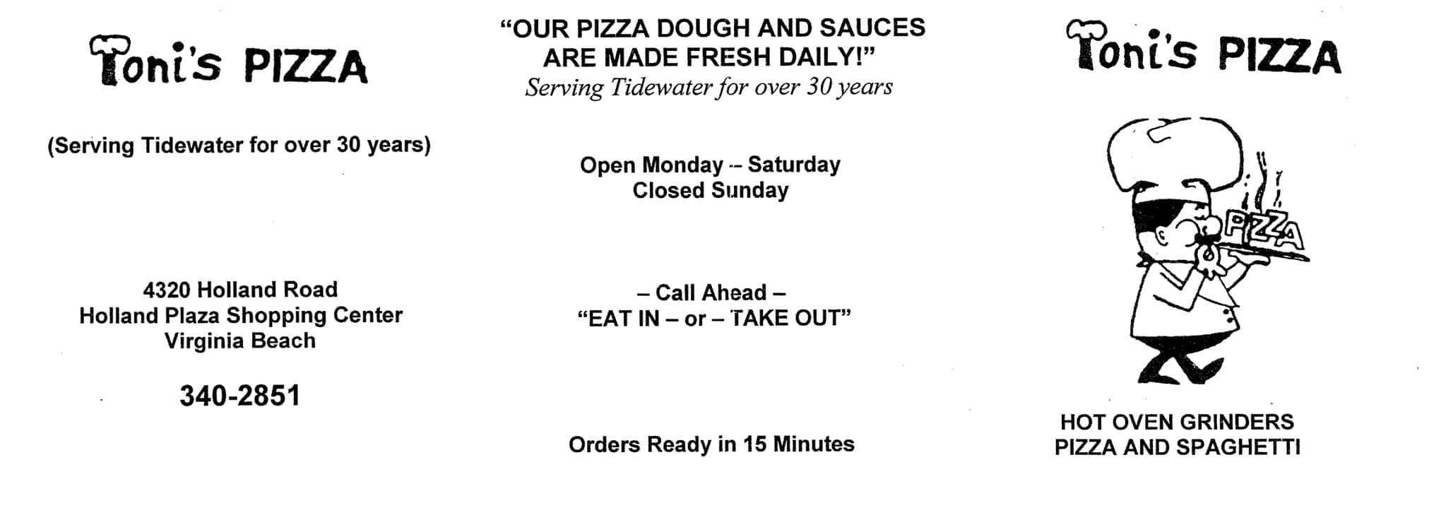 Toni S Pizza Virginia Beach Menu