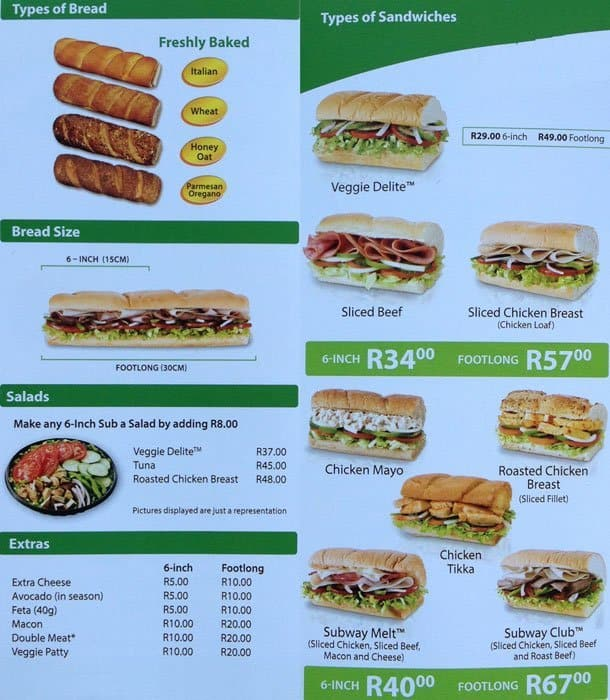 subway menu nutrition facts pdf