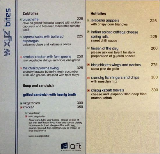 W xyz hotel aloft menu menu for w xyz hotel aloft for W hotel in room dining menu