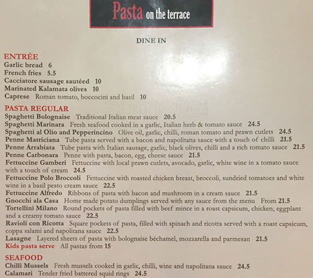 Menu at pasta on the terrace restaurant north beach 111c for Terrace restaurant menu