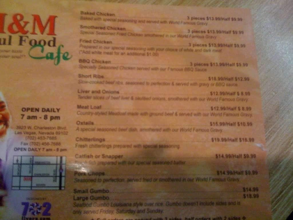 Menu At M M Soul Food Restaurant Las Vegas W Charleston Blvd