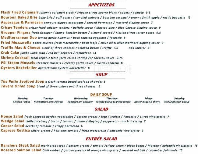The Patio Seafood Tavern, Vero Beach Menu