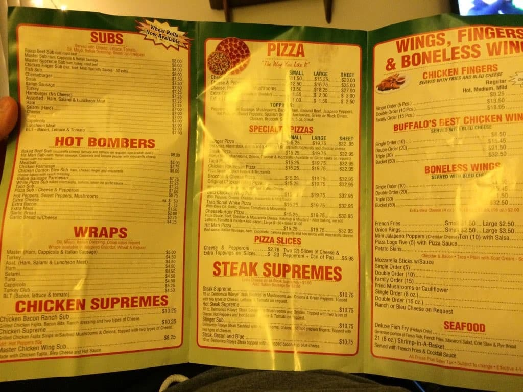 master pizza menu, menu for master pizza, cheektowaga, buffalo