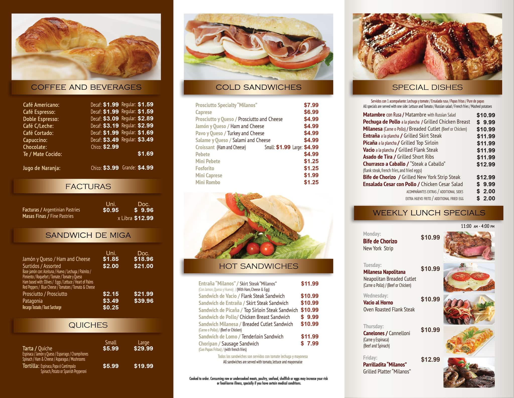 bakery menu