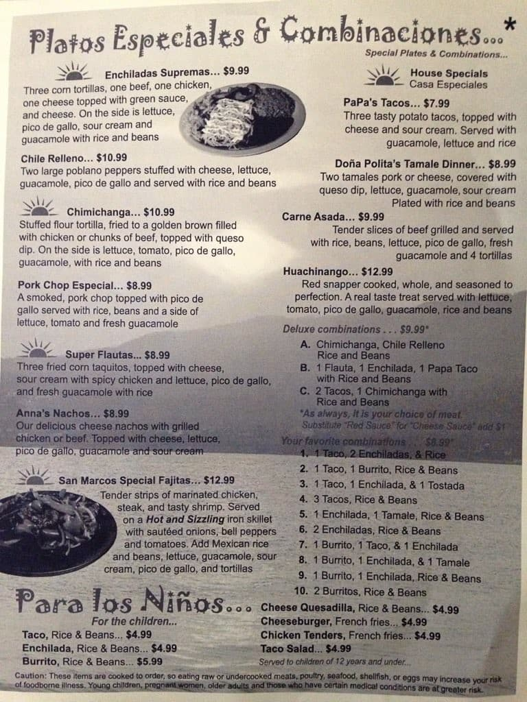 Toledo Mexican Restaurant Menu